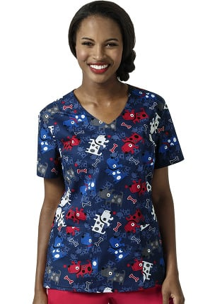 Zoe and Chloe Women's V-Neck Dog Print Scrub Top