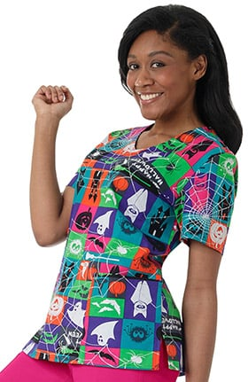 Zoe and Chloe Women's V-Neck Halloween Print Scrub Top