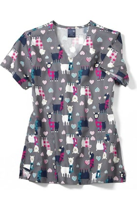 Clearance Zoe and Chloe Women's Llamaste Print Scrub Top
