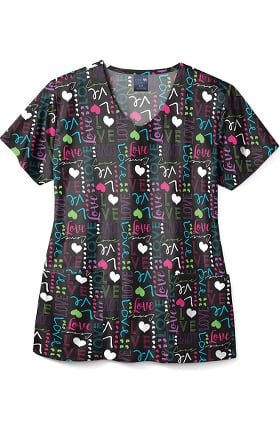 Clearance Zoe and Chloe Women's Love Struck Print Scrub Top