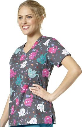 Zoe and Chloe Women's V-Neck Elephant Print Scrub Top