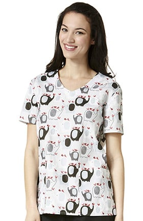 Zoe and Chloe Women's 2 Pocket V-Neck Elephant Print Scrub Top