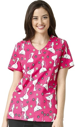 Zoe and Chloe Women's 2 Pocket V-Neck Cat Print Scrub Top