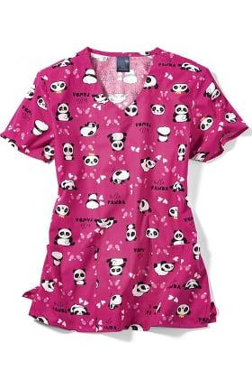 Zoe and Chloe Women's Panda Shmanda Print Scrub Top
