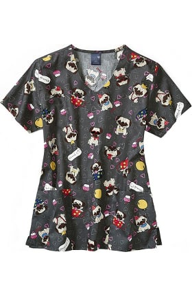 Zoe and Chloe Women's Pug Life Print Scrub Top