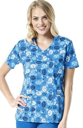 Zoe and Chloe Women's V-Neck Pet Print Scrub Top
