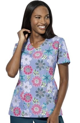Clearance Zoe and Chloe Women's V-Neck River Lilies Print Scrub Top