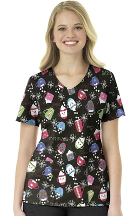 Zoe and Chloe Women's Snuggle Buddy Print Scrub Top