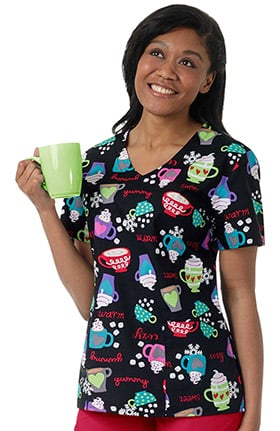 Zoe and Chloe Women's V-Neck Winter Coffee Print Scrub Top