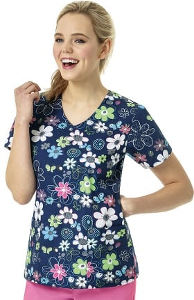 Zoe and Chloe Women's V-Neck Spring Field Navy Print Scrub Top