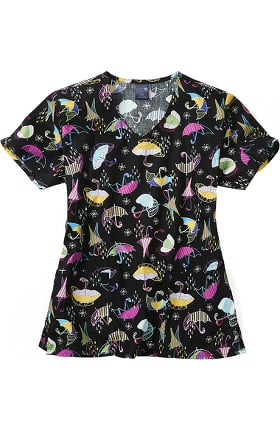 Zoe and Chloe Women's Spring Showers Print Scrub Top