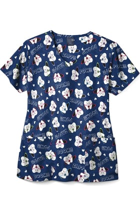 Clearance Zoe and Chloe Women's Super Tooth Print Scrub Top