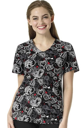 Zoe and Chloe Women's V-Neck Heart Print Scrub Top
