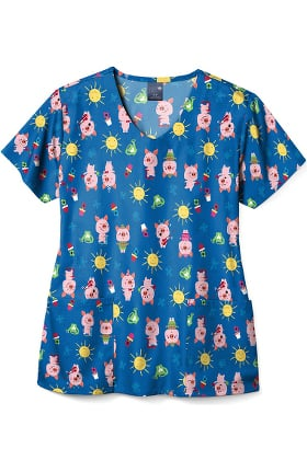 Clearance Zoe and Chloe Women's This Little Piggy Print Scrub Top