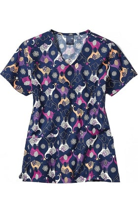 Clearance Zoe and Chloe Women's Trunk Show Print Scrub Top