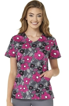 Clearance Zoe and Chloe Women's Urban Garden Print Scrub Top