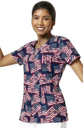 Zoe and Chloe Women's V-Neck American Flag Print Scrub Top