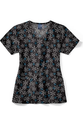 Zoe and Chloe Women's Winter Nights Print Scrub Top