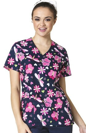 Clearance Zoe and Chloe Women's 2 Pocket V-Neck Butterfly Print Scrub Top