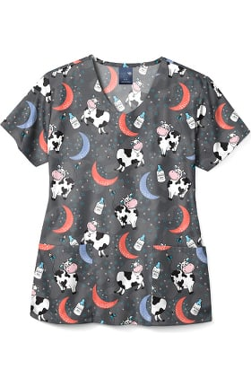 Zoe and Chloe Women's Over The Moon Print Scrub Top