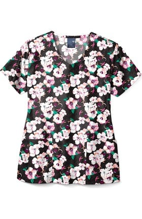 Zoe and Chloe Women's Pretty Peony Print Scrub Top