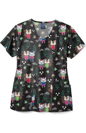Zoe and Chloe Women's Squirrelly Nutkins Print Scrub Top