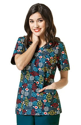Zoe and Chloe Women's Mock Wrap Autumn Leaf Print Scrub Top