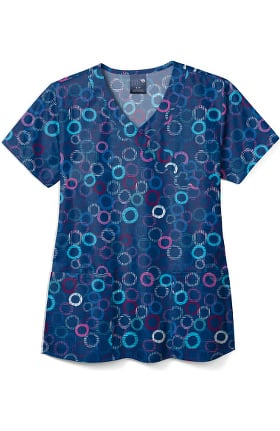 Zoe and Chloe Women's Cheery O Print Scrub Top