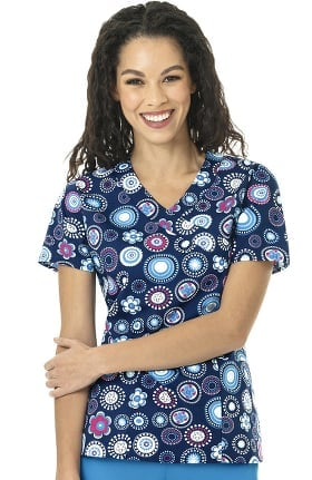 Clearance Zoe and Chloe Women's Mock Wrap Floral Eclipse Print Scrub Top