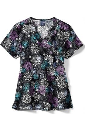 Clearance Zoe and Chloe Women's Mock Wrap Floral Medallion Print Scrub Top