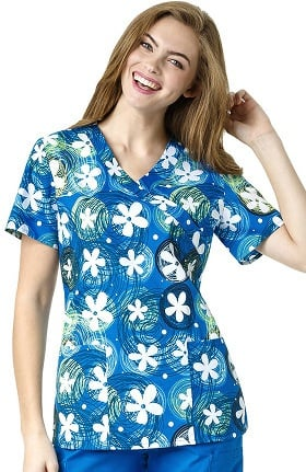 Zoe and Chloe Women's 2 Pocket Mock Wrap Floral Print Scrub Top