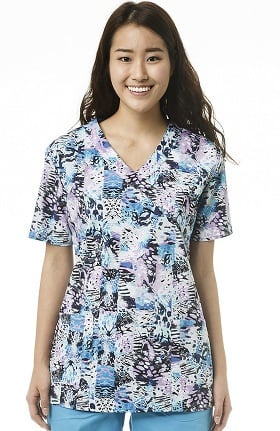 Clearance Zoe and Chloe Women's Mock Wrap Abstract Print Scrub Top