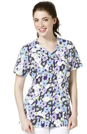 Clearance Zoe and Chloe Women's Mock Wrap Floral Print Scrub Top