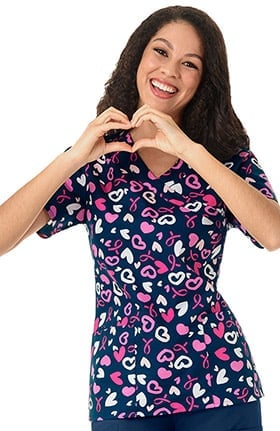 Zoe and Chloe Women's Mock Wrap Breast Cancer Awareness Print Scrub Top