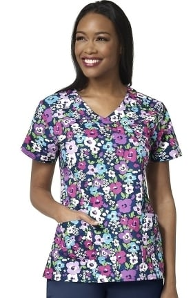 Clearance Zoe and Chloe Women's Midsummers Night Print Scrub Top