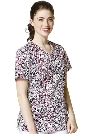 Clearance Zoe and Chloe Women's Mock Wrap Animal Print Scrub Top