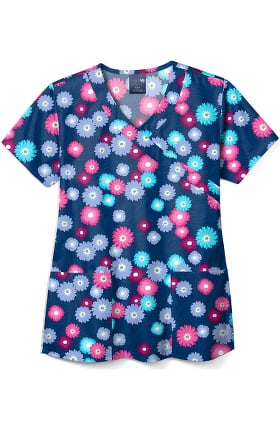 Clearance Zoe and Chloe Women's Blooming Beauties Print Scrub Top