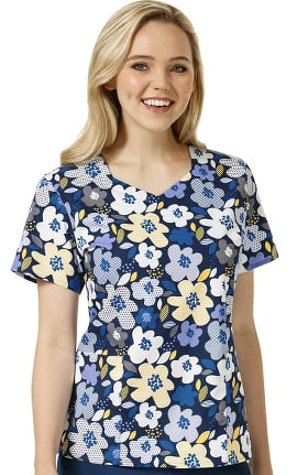 Zoe and Chloe Women's Diamond V-Neck Budding Beauties Print Scrub Top