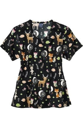 Clearance Zoe and Chloe Women's Find Your Tribe Print Scrub Top