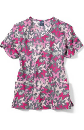 Clearance Zoe and Chloe Women's Diamond V-Neck Hope Floats Print Scrub Top