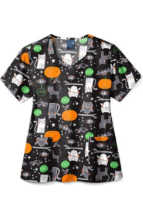 Zoe and Chloe Women's Halloween Night Print Scrub Top