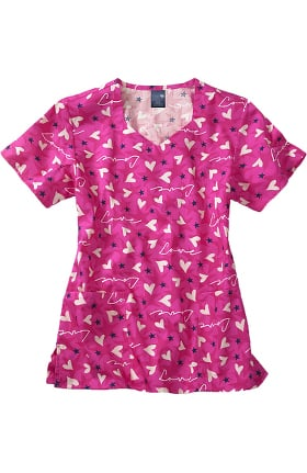 Zoe and Chloe Women's Diamond Neck Sweetheart Print Scrub Top