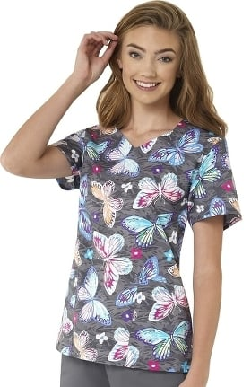 Clearance Zoe and Chloe Women's Summer Breeze Print Scrub Top