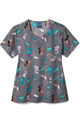 Zoe and Chloe Women's Puppy Power Print Scrub Top