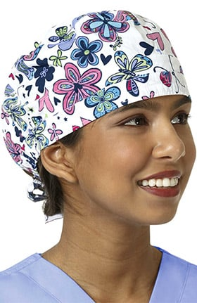 Zoe and Chloe Women's Adjustable Butterfly Print Scrub Hat