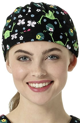 Zoe and Chloe Women's Adjustable Frog Print Scrub Hat