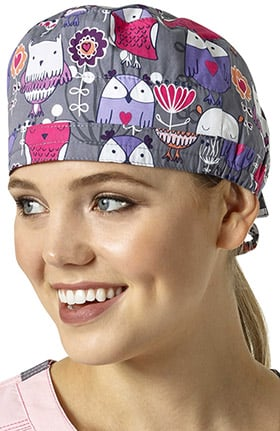 Zoe and Chloe Women's Adjustable Owl Print Scrub Hat