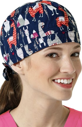 Zoe and Chloe Women's Adjustable Llama Print Scrub Hat