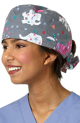 Zoe and Chloe Women's Elephant Print Scrub Cap