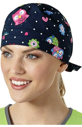Zoe and Chloe Women's Adjustable Owl Print Scrub Hat